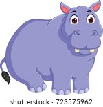 funny hippo cartoon posing with ... | Shutterstock .eps vector #723575962