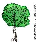 sketch tree trunk green foliage   Shutterstock . vector #723580546
