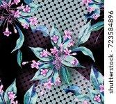seamless pattern with weigela... | Shutterstock . vector #723584896