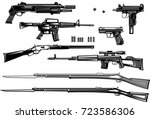 guns  old and modern | Shutterstock .eps vector #723586306