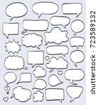 set of hand drawn speech... | Shutterstock . vector #723589132