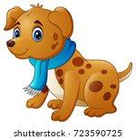cartoon dog in a scarf | Shutterstock . vector #723590725
