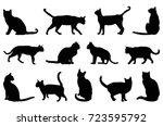 cat silhouette  vector... | Shutterstock .eps vector #723595792