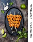 grilled spicy lime shrimp... | Shutterstock . vector #723598936