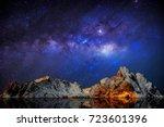 milky way over mountain... | Shutterstock . vector #723601396