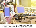 pos point of sale machine and... | Shutterstock . vector #723606502