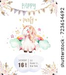 isolated cute watercolor... | Shutterstock . vector #723614692