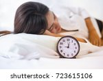 woman trying to sleep  when... | Shutterstock . vector #723615106