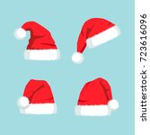 christmas red santa hat... | Shutterstock .eps vector #723616096