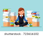 business woman meditating in... | Shutterstock .eps vector #723616102