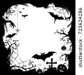 halloween styled frame design... | Shutterstock .eps vector #723624286