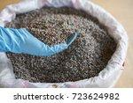 blue latex glove  chemical... | Shutterstock . vector #723624982