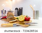 sliced bread at the kitchen desk | Shutterstock . vector #723628516