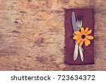 table setting with autumn... | Shutterstock . vector #723634372