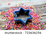 blue star  colorful confetti... | Shutterstock . vector #723636256