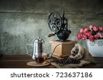 coffee in the morning. still... | Shutterstock . vector #723637186