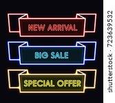set of trendy neon geometric... | Shutterstock .eps vector #723639532