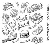 fast food restaurant menu. hand ... | Shutterstock .eps vector #723641068