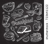 healthy breakfast hand drawn... | Shutterstock .eps vector #723641122