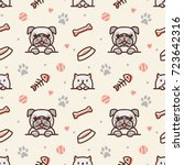 Stock vector pug dog and cat with bone fish bones paw prints and ball seamless pattern vector background 723642316