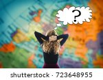 woman thinking ahead of the... | Shutterstock . vector #723648955