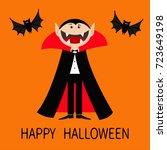 happy halloween. count dracula... | Shutterstock .eps vector #723649198