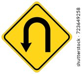 sign u turn left ahead road .... | Shutterstock .eps vector #723649258