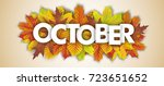 autumn foliage with text... | Shutterstock .eps vector #723651652