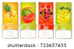 big set of labels with fruit in ... | Shutterstock .eps vector #723657655