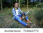 man with a chainsaw | Shutterstock . vector #723663772