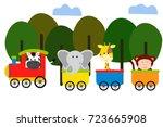 cute animal on train vector... | Shutterstock .eps vector #723665908