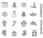 christmas icons. gray flat... | Shutterstock .eps vector #723682012