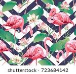 flamingo bird and tropical... | Shutterstock .eps vector #723684142