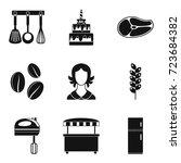 wedding cake icons set. simple...