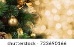 christmas tree background with... | Shutterstock . vector #723690166