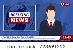 tv news studio with broadcaster ...   Shutterstock .eps vector #723691252
