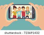 young friends teenagers taking... | Shutterstock .eps vector #723691432