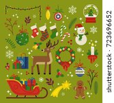 christmas design elements ... | Shutterstock .eps vector #723696652