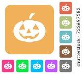 halloween pumpkin flat icons on ... | Shutterstock .eps vector #723697582