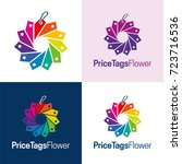 price tags flower icon and logo ... | Shutterstock .eps vector #723716536
