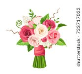 vector bouquet of red  pink and ... | Shutterstock .eps vector #723717022