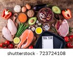 healthy food selection. meat ...   Shutterstock . vector #723724108