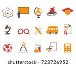 orange education icons set | Shutterstock .eps vector #723726952