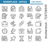 workplace and office icons.... | Shutterstock .eps vector #723728545