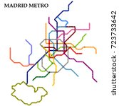 map of the madrid metro  subway ... | Shutterstock .eps vector #723733642
