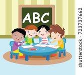 study group kids cartoon vector ... | Shutterstock .eps vector #723737662