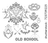 old school tattoo set. classic... | Shutterstock .eps vector #723739225
