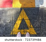 pink shoes standing on a road... | Shutterstock . vector #723739486