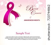 breast cancer awareness poster... | Shutterstock . vector #723744862
