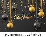 christmas greeting card  poster ... | Shutterstock .eps vector #723745495